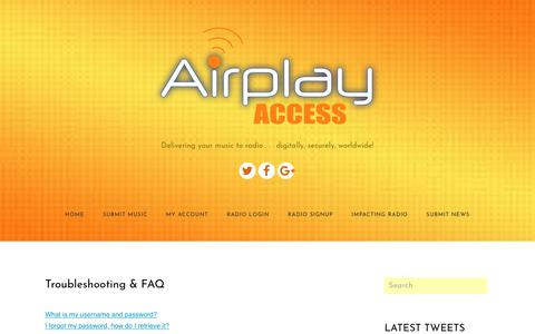 Screenshot of FAQ Page airplayaccess.com - FAQ - Airplay Access - captured July 29, 2018