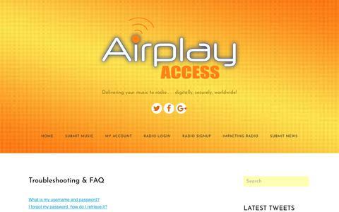 Screenshot of FAQ Page airplayaccess.com - FAQ - Airplay Access - captured July 29, 2018
