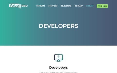 Screenshot of Developers Page voicebase.com - Developers - VoiceBase, Inc. - captured Oct. 1, 2018