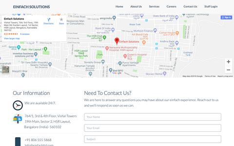Screenshot of Contact Page einfachltd.com - Einfach Solutions | Contact us - captured Sept. 27, 2018