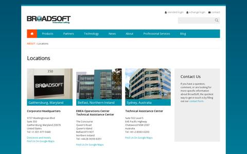 Screenshot of Locations Page broadsoft.com - BroadSoft: Offices in Gaithersburg, Maryland, Sydney Australia and Belfast, Ireland - captured July 20, 2014