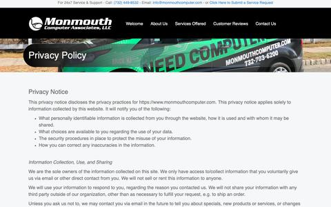 Screenshot of Privacy Page monmouthcomputer.com - Privacy Policy | NJ Computer Repair | Business IT Support and Solutions | Technology Support | Monmouth Computer Associates - captured Dec. 10, 2018
