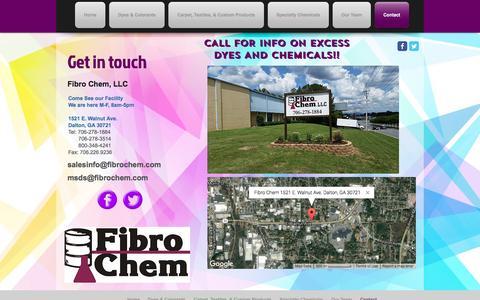 Screenshot of Contact Page fibrochem.com - Fibro Chem Contact Info - captured Nov. 25, 2016