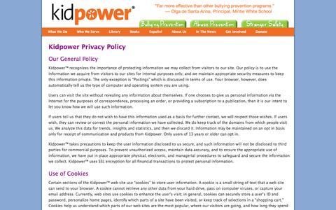 Screenshot of Privacy Page kidpower.org - Privacy Policy | Kidpower Teenpower Fullpower International - captured Sept. 24, 2014