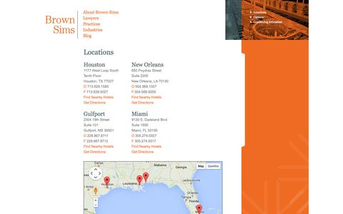 Screenshot of Locations Page brownsims.com - Locations - Brown Sims - captured Oct. 5, 2014