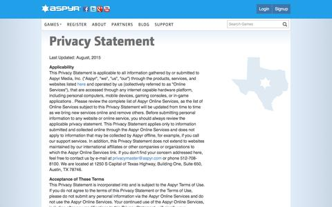 Screenshot of Privacy Page aspyr.com - Aspyr - Privacy Statement - captured Oct. 18, 2016