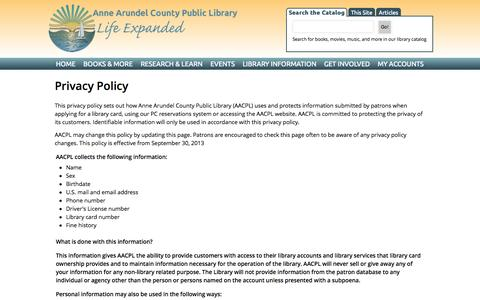 Screenshot of Privacy Page aacpl.net - Privacy Policy | Anne Arundel County Public Library - captured Sept. 25, 2014