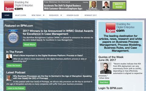 Screenshot of Home Page bpm.com - Home - captured July 6, 2017