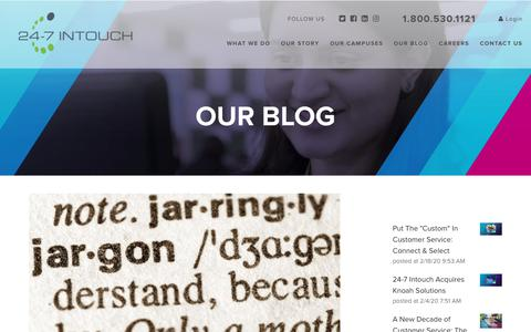 """Screenshot of Blog 24-7intouch.com - """"You Said What?"""" - Contact Center Slang - captured Feb. 20, 2020"""