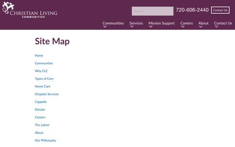 Screenshot of Site Map Page christianlivingcommunities.org - Site Map  | Christian Living Communities - captured July 17, 2018