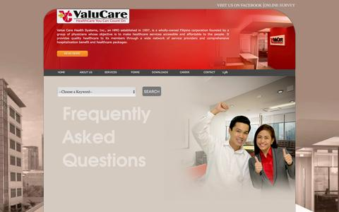 Screenshot of FAQ Page valucare.com.ph - FAQS | ValuCare - captured May 13, 2016