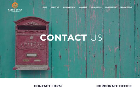 Screenshot of Contact Page raisoni.net - Contact Us - RAISONI GROUP OF INSTITUTIONS - captured Sept. 25, 2018