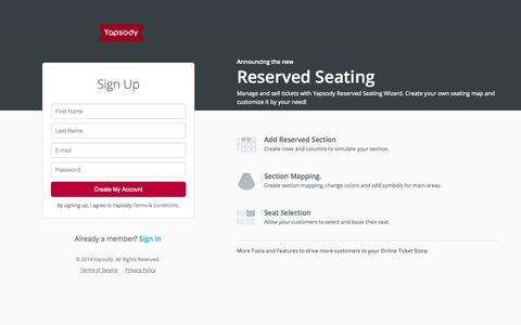 Screenshot of Signup Page yapsody.com - Yapsody Sign Up | Create Free Event | Create an Event - captured Sept. 22, 2014