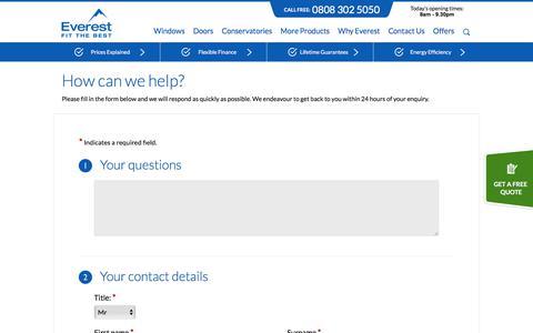 Screenshot of Support Page everest.co.uk - Customer Services | Everest - captured April 13, 2018