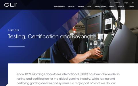 Screenshot of Services Page gaminglabs.com - Services - Gaming Labs International - captured Dec. 13, 2018