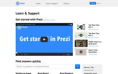 Screenshot of Support Page prezi.com - Support | Prezi - captured July 20, 2014