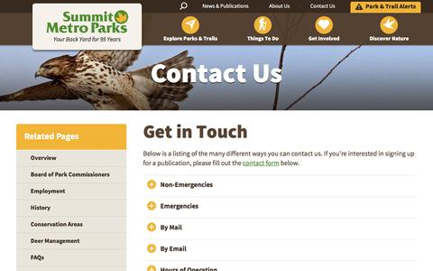 Screenshot of Contact Page Hours Page summitmetroparks.org - Contact  Your Local Park | Summit Metro Parks - captured Aug. 15, 2016