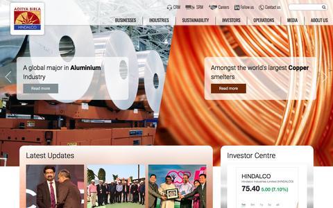 Screenshot of Home Page hindalco.com - Hindalco – The metals flagship company of the Aditya Birla Group - captured March 3, 2016