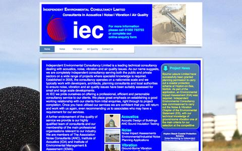 Screenshot of Home Page i-e-c.co.uk - Home | Independent Environmental Consultancy Limited | Approved Noise,Vibration & Air Quality Consultants | Call 01502 732733 - captured Oct. 6, 2014