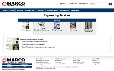 Screenshot of Services Page marcorubber.com - Engineering Services - captured Nov. 19, 2016