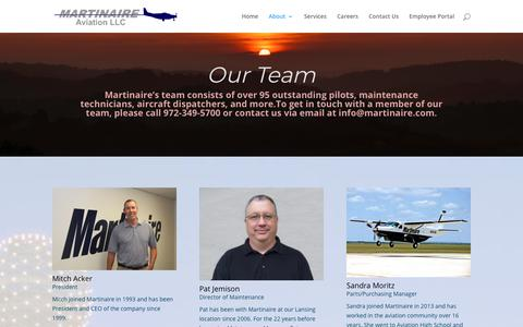 Screenshot of Team Page martinaire.com - Our Staff | Martinaire Aviation LLC - captured July 26, 2018