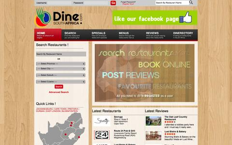 Screenshot of Home Page dinesouthafrica.com - DineSouthAfrica.com :: South Africa's Premier Online Restaurant Guide - captured Oct. 6, 2014