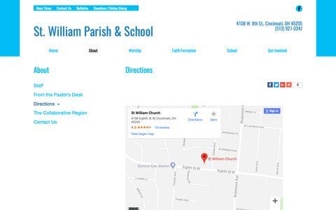 Screenshot of Maps & Directions Page saintwilliam.com - St. William | Directions | Cincinnati, OH - captured Oct. 31, 2018