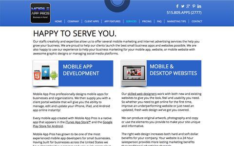Screenshot of Services Page goapppros.com - MOBILE APP PROS | MOBILE APP DEVELOPMENT - captured Dec. 2, 2016