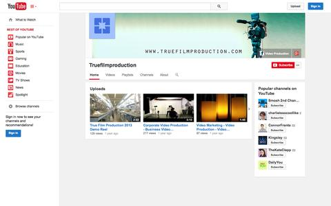 Screenshot of YouTube Page youtube.com - Truefilmproduction  - YouTube - captured Nov. 5, 2014