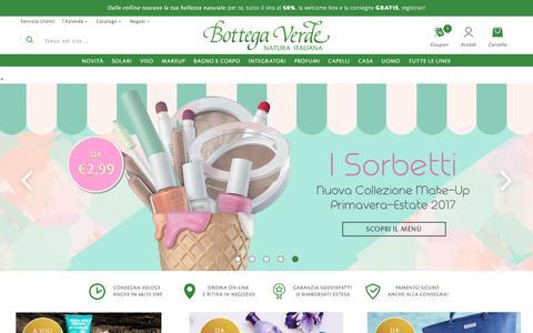 Screenshot of Home Page bottegaverde.it - Bottega Verde > Sito Ufficiale   Natura Italiana - captured June 2, 2017