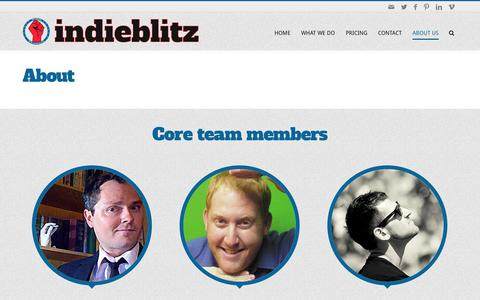 Screenshot of About Page indieblitz.com - About - indieblitz - captured Sept. 30, 2014