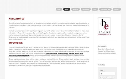 Screenshot of About Page brandengineers.com - Dedicated to your brand - The Positioning & Strategy Agency - captured Oct. 1, 2014