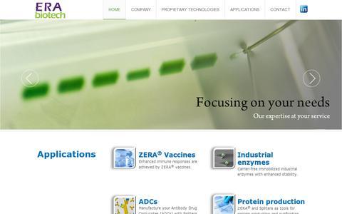 Screenshot of Home Page erabiotech.com - Home - captured July 11, 2014