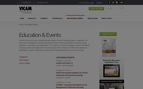 Screenshot of Press Page vicam.com - Mycotoxin Education & Events from VICAM - captured Oct. 18, 2018