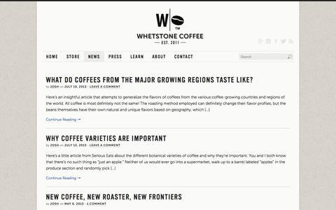 Screenshot of Press Page whetstonecoffee.com - News   Whetstone Coffee - captured Oct. 26, 2014