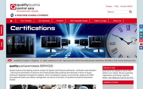 Screenshot of Home Page qualityaustriacentralasia.com - Standards, Training, Testing, Assessment and Certification | Quality austria central asia - captured Nov. 8, 2016