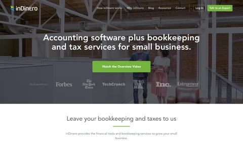 Screenshot of Home Page indinero.com - Accounting and Tax Services + Software to Support Business Growth - captured Feb. 14, 2017