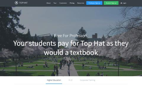 Screenshot of Signup Page Pricing Page tophat.com - Sign up | Top Hat - captured Oct. 22, 2014