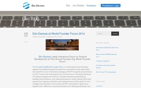 Screenshot of Blog ekodevices.com - Eko Blog | Eko Devices » The Worlds Most Intelligent Stethoscope - captured July 19, 2014
