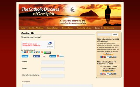 Screenshot of Contact Page onespiritcatholic.org - Contact Us | Catholic Dioceses of One Spirit - captured July 17, 2017