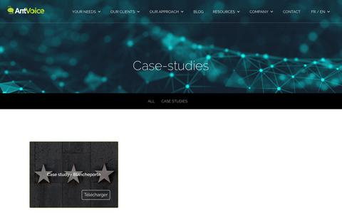 Screenshot of Case Studies Page antvoice.com - AntVoice | Resources : Case studies - captured July 13, 2018
