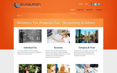 Screenshot of Home Page evolutionaccountants.com.au - Brisbane Business Accountant Tax Adviser Property Tax SMSF - captured July 22, 2018