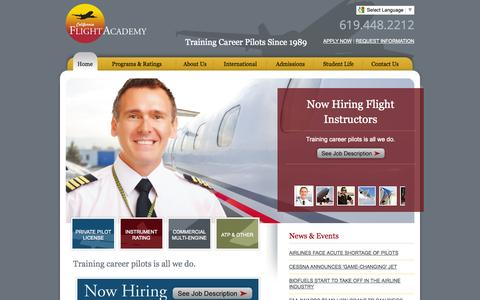 Screenshot of Home Page flycfa.com - California Flight Academy - Training Career Pilots Since 1989 - captured Oct. 1, 2014