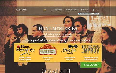 Screenshot of Home Page huntmysteries.com - Hunt Mysteries-Corporate Entertainment and Event Entertainment - captured Oct. 3, 2014