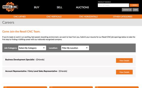 Screenshot of Jobs Page resellcnc.com - Careers In CNC Machine Sales   Resell CNC - captured Sept. 21, 2018