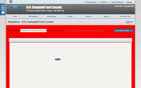 Screenshot of Maps & Directions Page ericcampbellfordlincoln.ca - Directions at Eric Campbell Ford Lincoln - Your Exeter, Ontario Ford dealer - captured March 11, 2016