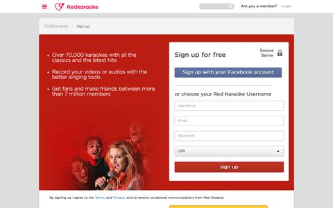 Screenshot of Signup Page redkaraoke.com - Register on Red Karaoke, the free online karaoke - captured Jan. 29, 2017
