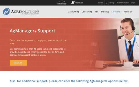 Screenshot of Support Page agrisolutions.com - Software | AgManager Support - captured Nov. 20, 2016
