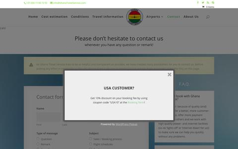 Screenshot of Contact Page ghanaticketservice.com - Contact - {:en}Ghana Ticket Service{:}{:de}Ghana Ticket Service{:} - captured Dec. 9, 2015