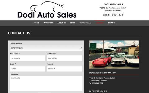 Screenshot of Contact Page dodiauto.com - Contact Dodi Auto Sales Dealership Monterey, CA 93940 - captured Oct. 18, 2018